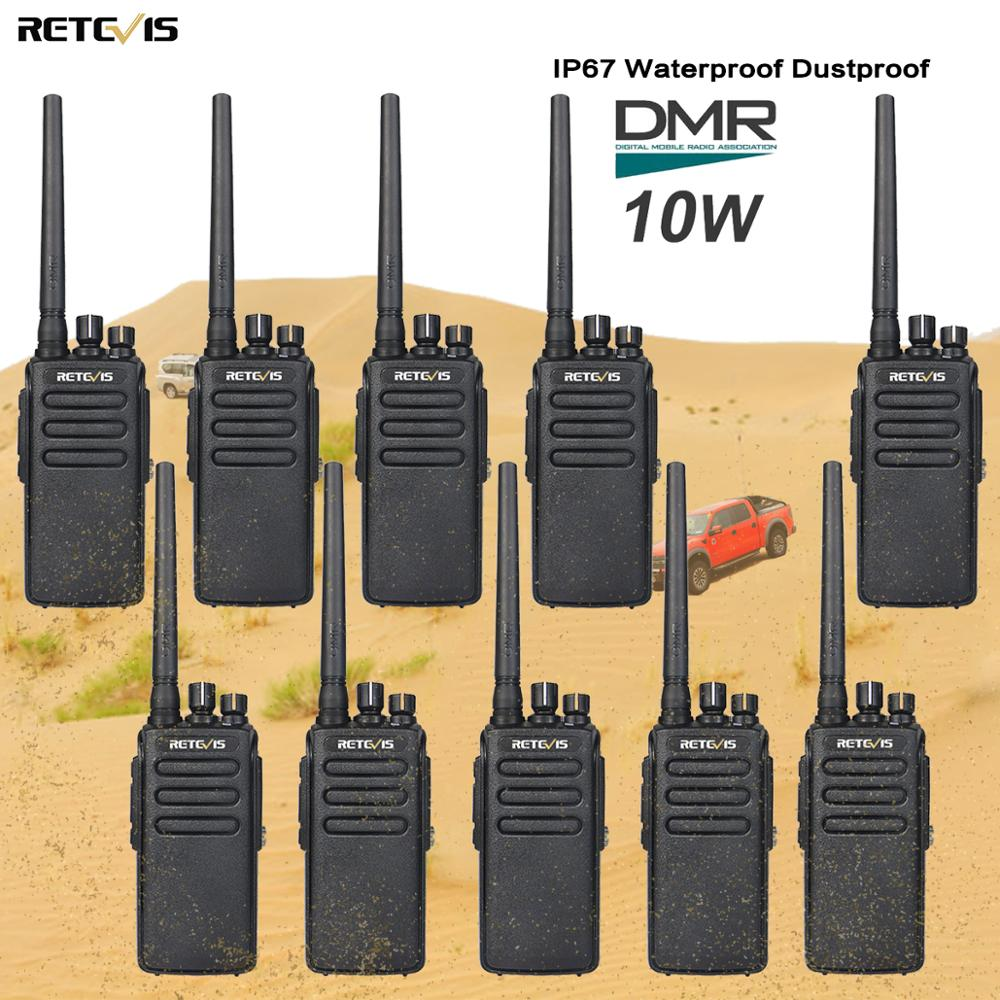 10 pcs 10W Walkie Talkie DMR Digital Radio Retevis RT81 IP67 Waterproof UHF Encryption VOX Digital