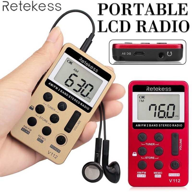 V-112 Radio Tasca Portatile Piccolo Sintonia Digitale AM/FM Stereo Ricaricabile Radio Con Auricolare Dual-band Sintonia Digitale