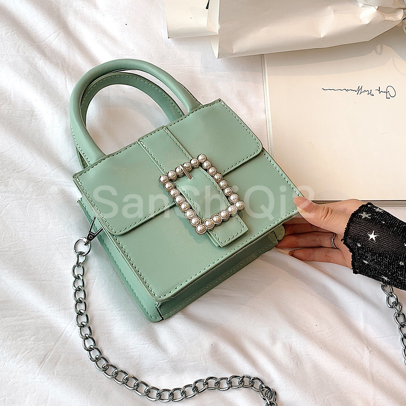 Small Elegant Tote Bag For Women 2019 New Quality Leather  Designer Mini Purses And Handbags Pearl Lock Chain Shoulder Messenger