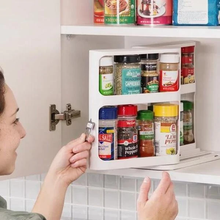 Double Layer Kitchen Spice Organizer Rack Multi-Function Rotating Storage Shelf Slide Kitchen Cabinet Cupboard Kitchen Storage