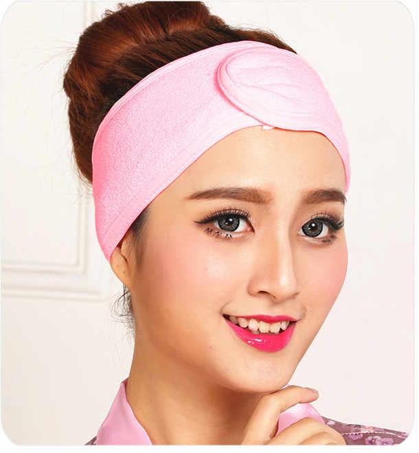 1 Pza lavable cara baño ducha maquillaje SPA mujeres sudor elástico sudor suave diademas Scrunchie con cinta mágica accesorios para el cabello