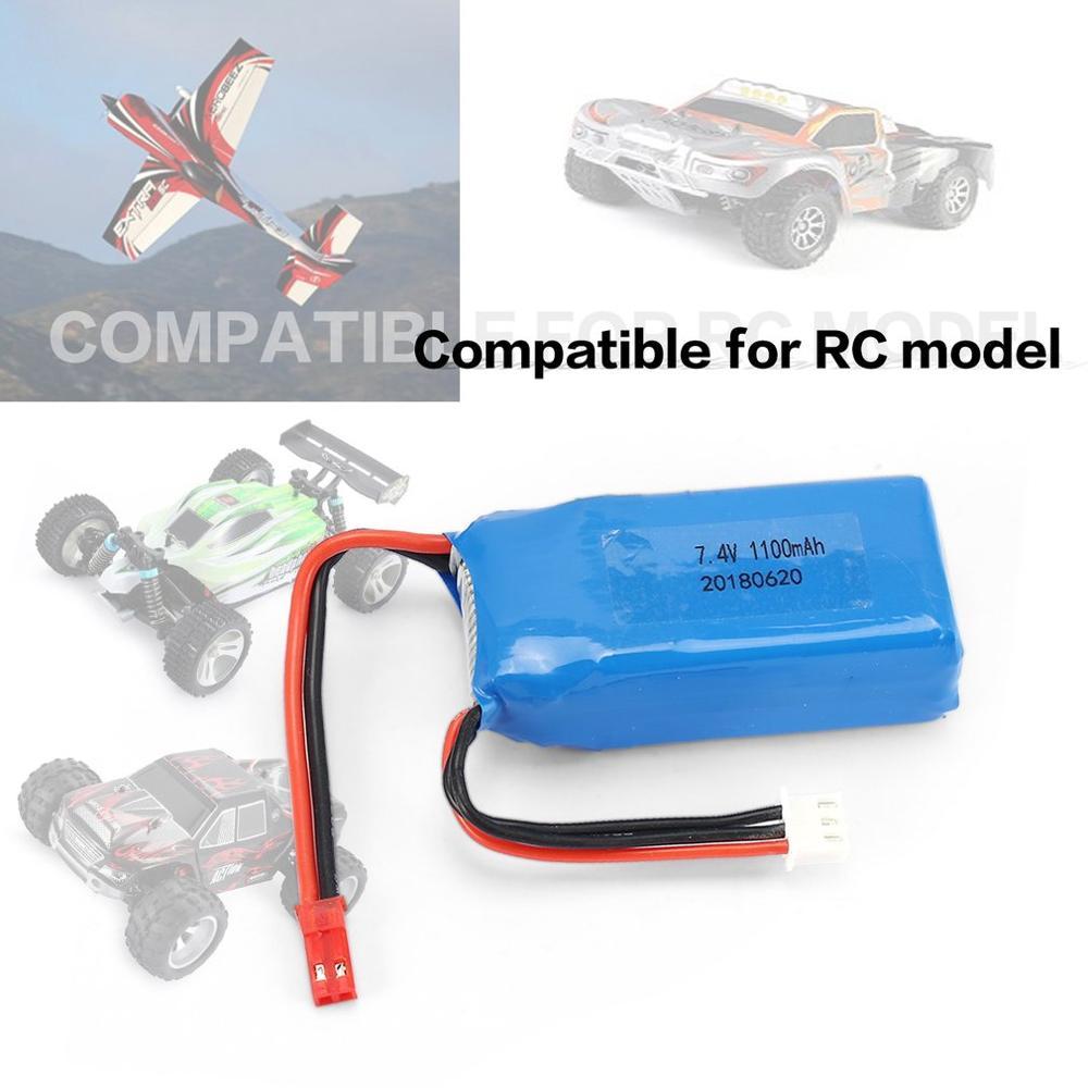 4 pièces 7.4V 1100mAh 25C 2S Lipo batterie JST Plug Rechargeable pour Wltoys A949 A959 A969 A979 Drone d'avion de voiture RC