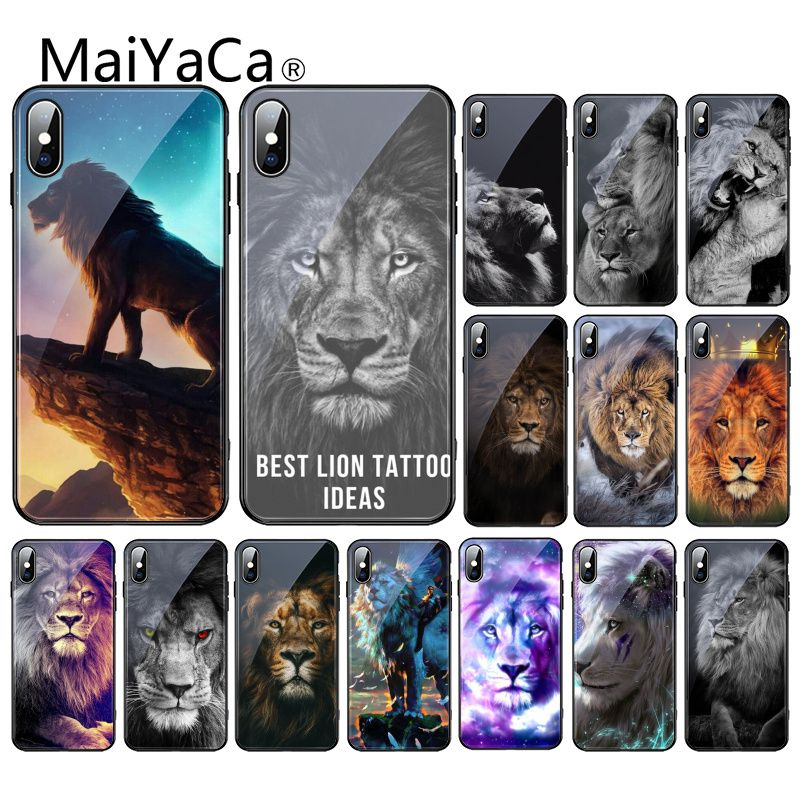 Maiyaca Animals The <font><b>lion</b></font> Tempered Glass Phone <font><b>Case</b></font> For <font><b>iPhone</b></font> 11 Pro XR XS MAX 8 X 7 <font><b>6S</b></font> 6 Plus image
