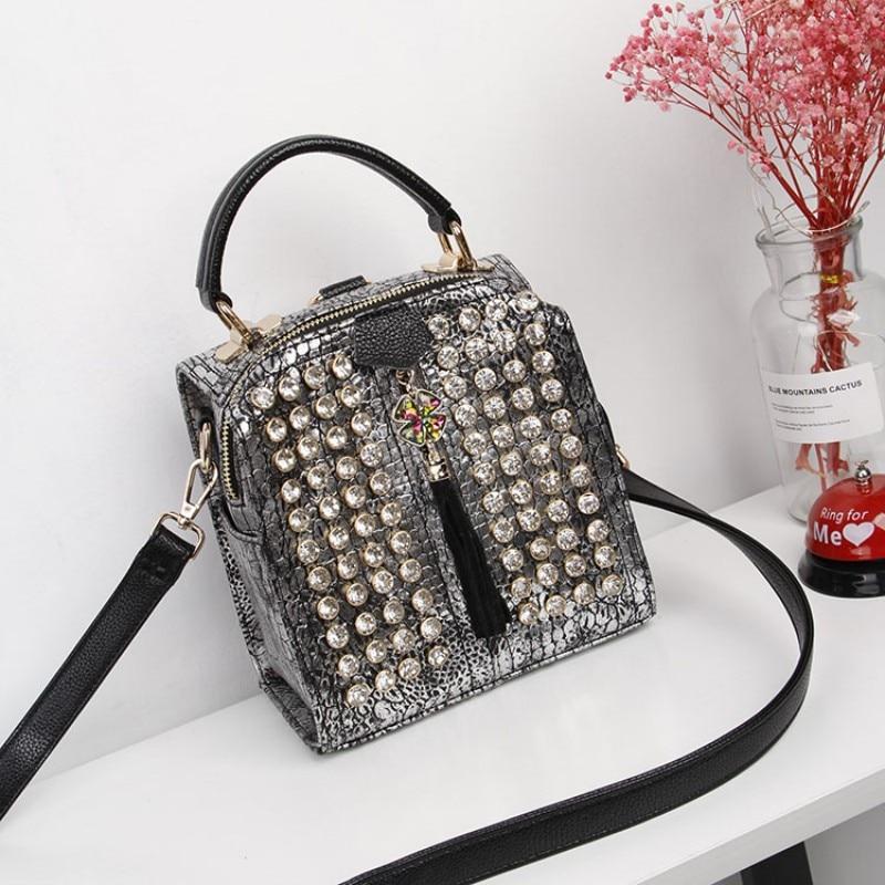 Grânulo das mulheres novos diamantes mochila moda