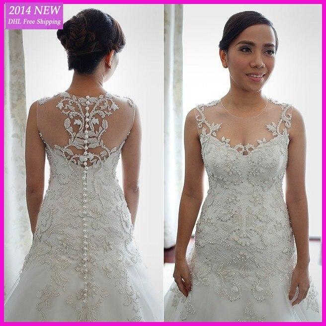 Frete Grtis Novos Vestidos De Noiva Sexy 2019 Artesanal Branco Prolas Prolas Vestido Nupcial Vestidos De Novia Personalizado- Fe