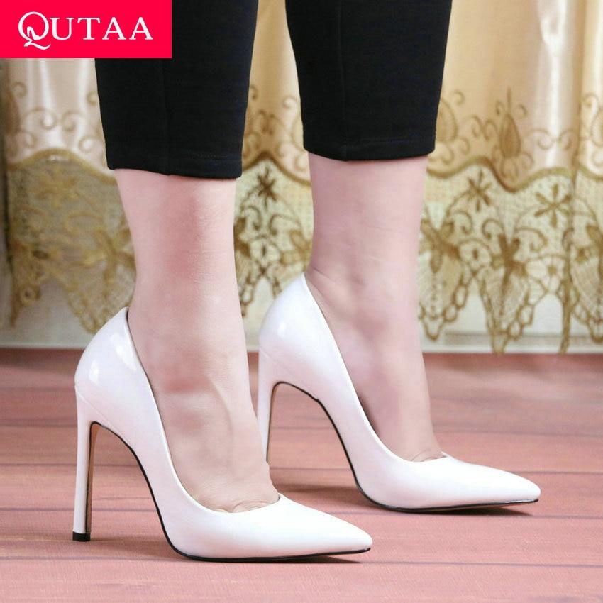 QUTAA 2020 Fashion Shoes Women Pumps High Heels Snakeskin PU Flock Sexy Women Shoes Sexy Ladies Pointed Toe Stilettos Size 34-43