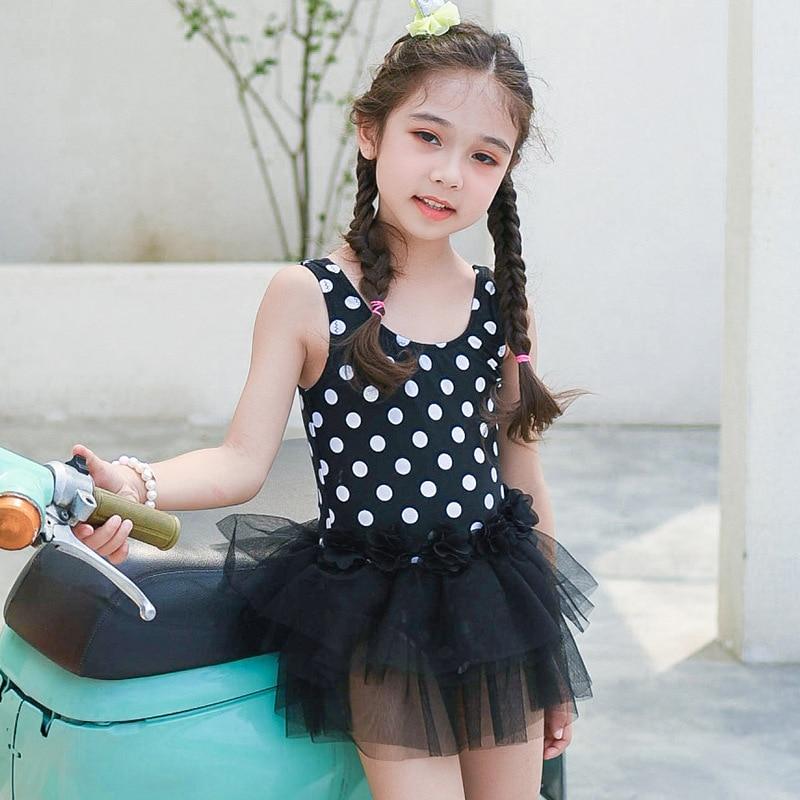 South Korea Hot Selling INS CHILDREN'S Swimwear GIRL'S Small CHILDREN'S Baby Cute Princess Dress-Polka Dot One-piece Swimwear Ca
