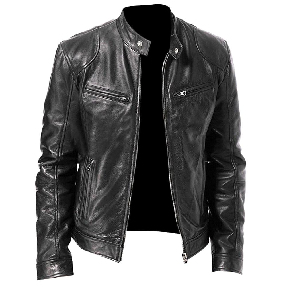 2020 Mens Jacket Autumn Winter Stand Collar Zipper Slim Fit Motorcycle Jacket Short Coat Windproof Warm Jacket New Free Shipping