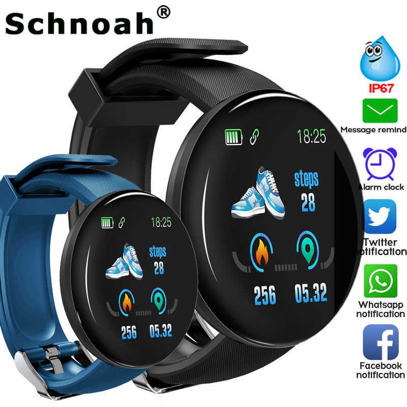 Reloj inteligente 2019 para hombres con presión arterial, reloj inteligente redondo para mujeres, rastreador deportivo resistente al agua, WhatsApp D18 para teléfono apple Android Ios
