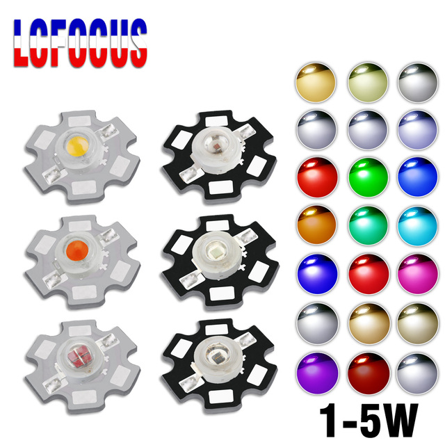 High Power LED COB Chip 1W 3W 5W Warm Cool White Red Blue Green Yellow Full Spectrum 660nm 440nm For Grow Light Aquarium Lamps