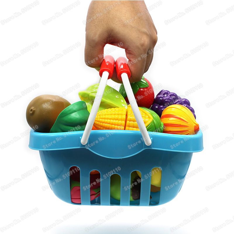 Children's Toy Storage Basket Cut Fruit And Vegetable Food Toys Kids Kitchen Cookin Simulation Food Kid's Kitchen Storage Basket