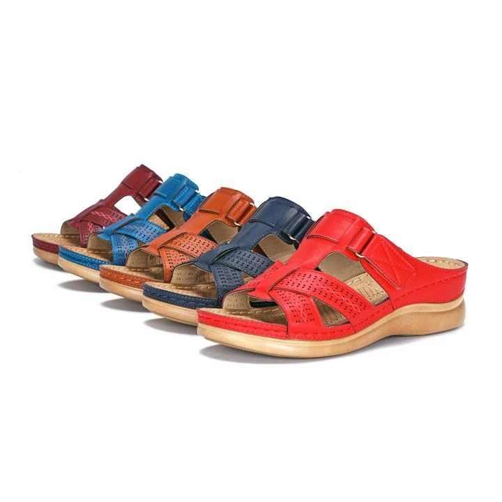 Puimentiua kadın yaz açık Toe rahat sandalet süper yumuşak Premium ortopedik düşük topuklu yürüyüş sandalet düzeltici yastık