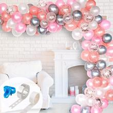 103pcs Pastel Balloon Garland Arch Kit Rose Gold Pink White and Silver Metal Latex Balloons For Wedding Birthday Party Decor