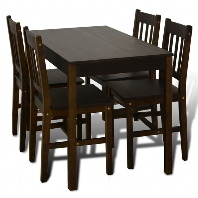 Wooden Dining Table with 4 Chairs 3
