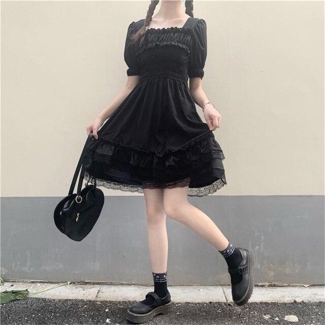 Japanese Lolita Style Women Princess Black Mini Dress Slash Neck High Waist Gothic Dress Puff Sleeve Lace Ruffles Party Dresses 5