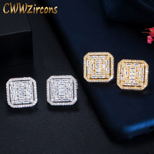 CWWZircons 2020 New Fashion Cubic Zirconia Big Square Stud Earring for Women Jewelry Wedding Brincos Boucle D'oreille CZ730 top quality white gold color square aaa cubic zirconia stud earring for women wedding elegant jewelry