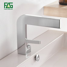 Basin Faucets Sink Tap Mounted Square Brass Chrome Single-Handle New-Design Deck FLG