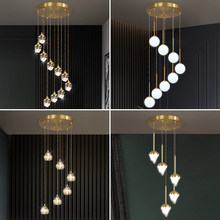 Nordic Crystal Led Pendant Lamp Luxury Golden Copper Hanging Light Decor for Dining Room Hall Spiral Staircase Indoor Fixtures