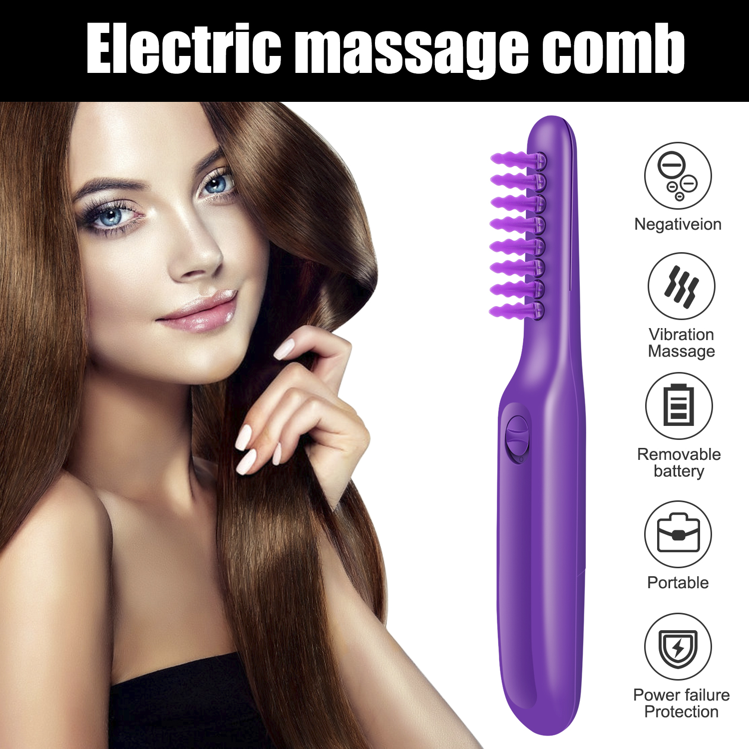 Electric Comb Women Hair Wet Or Dry Tame The Mane Electric Detangling Brush With Brush Cover, Adults & Kids