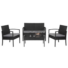 [US-W]4 PCS Outdoor Patio Rattan Wicker Furniture Set with Table Sofa Cushioned Black Contains Three Sofas And a Coffee Table