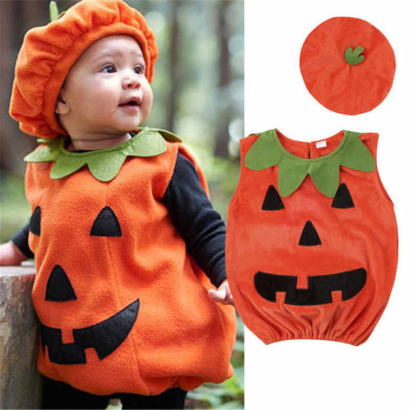 0-3Y Newly Cosplay Halloween Toddler Baby Kid Pumpkin Print Sleeveless Romper Jumpsuits Tops+Hats Baby Clothes 2PCS Costumes New