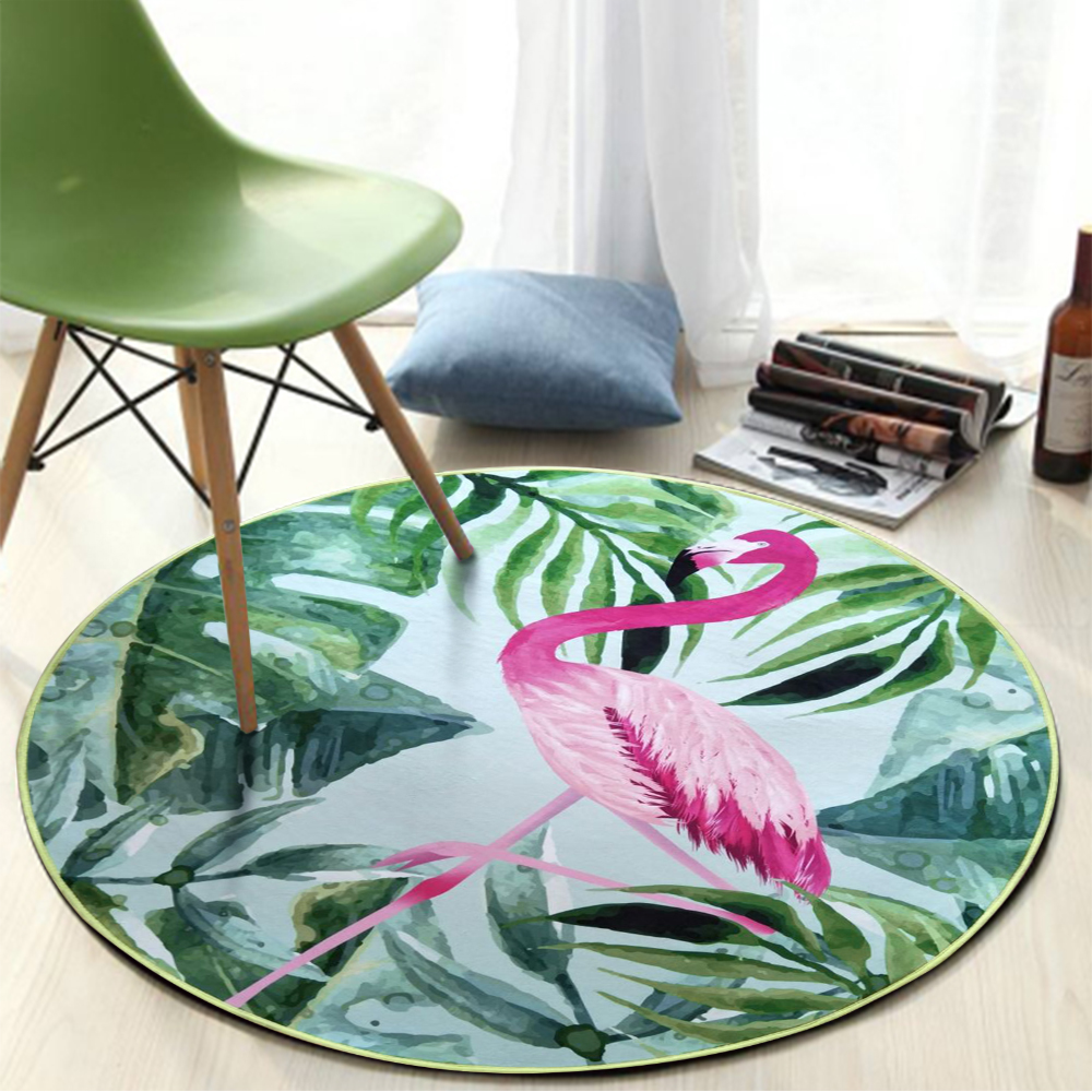 Floral Round Carpet Rug Kids Room Bedroom Doormat for Home Living Room Nordic <font><b>60</b></font> cm image
