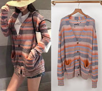 2020 Autumn Winter Women Rainbow Color Striped Mohair Knitted Cardigan Sweater L1