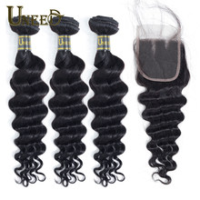 Tissage en lot brésilien Remy 3/4 naturel – Uneed Hair, Loose Deep Wave, avec Lace Closure, lots de 100%