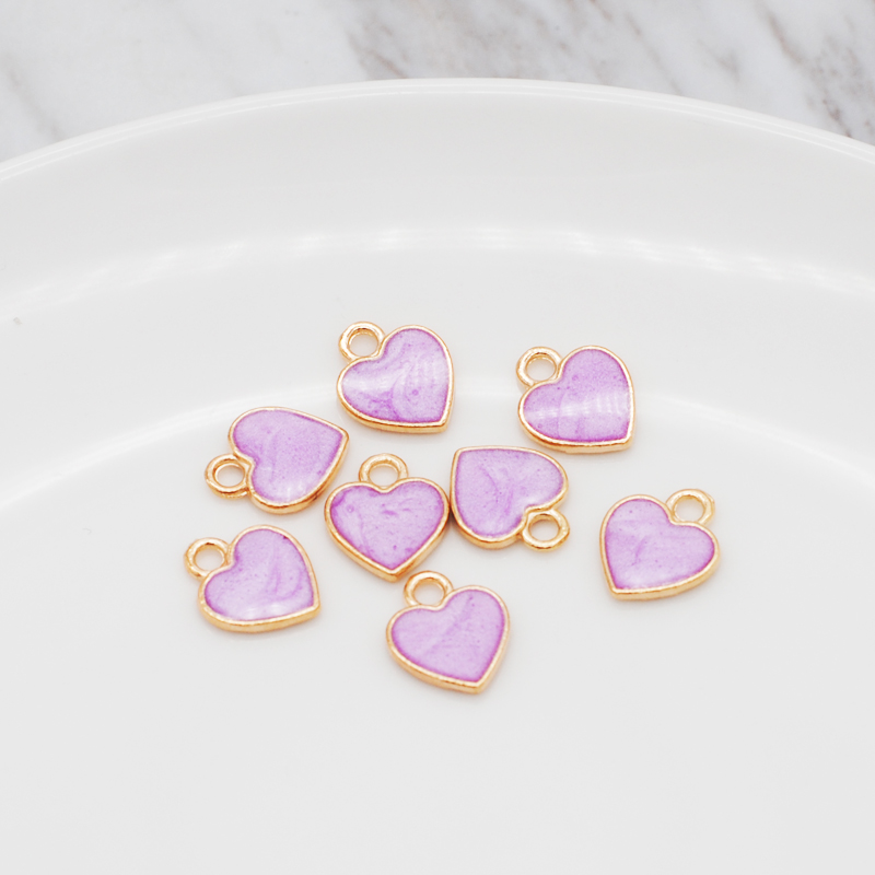 30pcs/Lot New Earrings DIY Accessories Cartoon Lovely Heart Simple Pendant Earrings Material Enamel Charm 10*12mm 4
