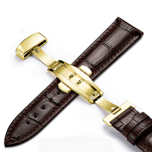 Image 3 - Genuine Leather Watchband Strap Stainless Steel Butterfly Clasp 13mm 14mm 15mm 16mm 17mm 18mm 19mm 20m 21mm 22mm Watch Bracelet