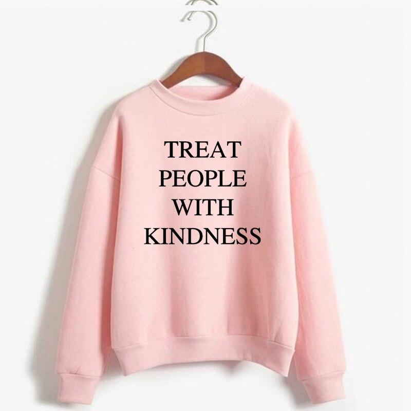 Women'S Sweatshirt Casual Warm Pullover Hoodie Female Jumper Long Sleeve Autumn Winter  Harry Styles Treat People With Kindness