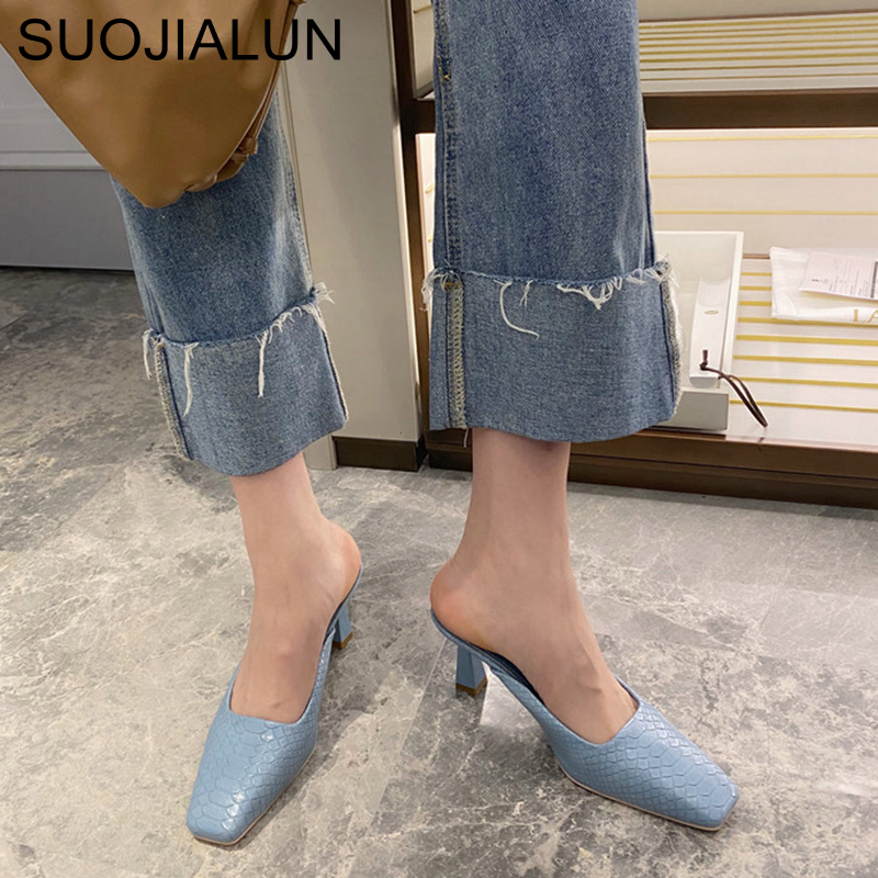 SUOJIALUN 2020 Brand Designer Women Slippers Square Toe High Heel Casual Shoes Stone Pattern Slip On Mules Spring Outdoor Slides