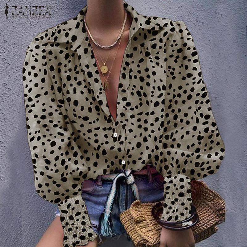 ZANZEA UK Women Long Puff Sleeve Blouse Leopard print Button Shirts OL Work Tops