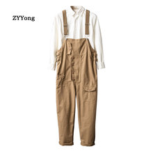 Trousers Cargo-Pants Brown Jumpsuit Pocket Overalls Men Streetwear Hip-Hop Khaki Straight