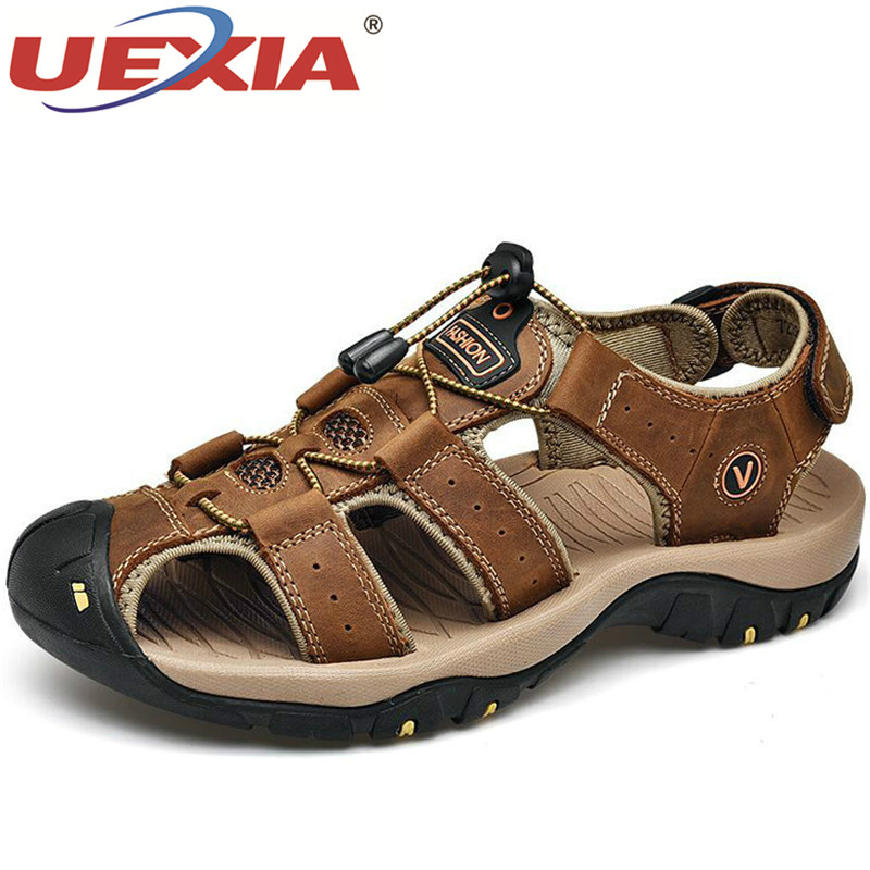 UEXIA Men's Casual Shoes Leather Sandals Roman Summer Male Comfortable Shoe Beach Fashion Beach Outdoor Walking Trekking Flat