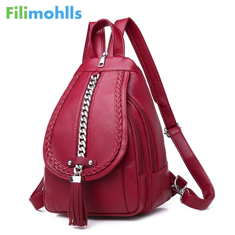 Female Backpack Designer High Quality Leather Women Bag Fashion School Bags Girl Bag Tassel Multifunction Bag Waterproof S1961