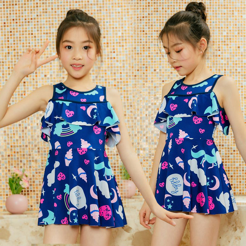 Korean-style Hipster Girls Beach Hot Springs Bathing Suit Conservative Safety Shorts Off-Shoulder Cute KID'S Swimwear Currently