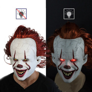 led light cosplay scary series mask rave costume lights neon led bright chrstimas blink mask nighttime glow in dark party decor Halloween mask Stephen King's Mask Latex Glowing Joker Cosplay Mask Horror Halloween LED It Scary Mask