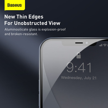 Закаленное стекло Baseus 2 шт. 0,23 мм для iPhone 12 11 Pro XS Max XR X 3
