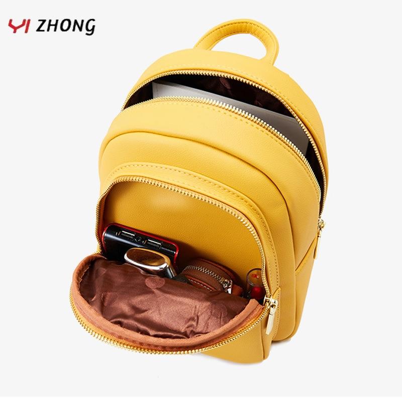 YIZHONG Leather Mini Backpack MultiFunction Small Backpack Purse Designer Famous Brand Women Bags Simple Shoulder Bag Mochila