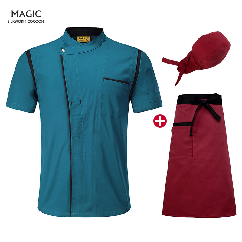 Catering Restaurant Chef's Uniform Kitchen Bakery Sushi Uniform Hotel Chef Jackets Short Sleeved Workwear Beauty Apron Chef Hat