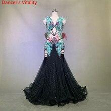 Lüks oryantal dans performansı kostüm Glitter boncuk sutyen büyük etek etek seti kadın Lady oryantal hint dans sahne giyim