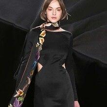 114cm width 41mm black silk double-sided satin fabric heavy double-sided silk crepe satin mulberry silk dress