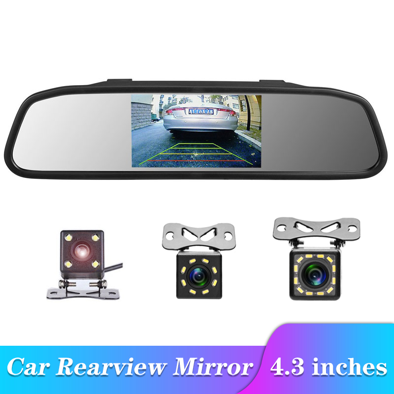 <font><b>4.3</b></font> <font><b>inch</b></font> Car HD Rearview Mirror <font><b>Monitor</b></font> Video Auto Parking Assistance LED Night Vision Reversing Rear View Auto Camera image