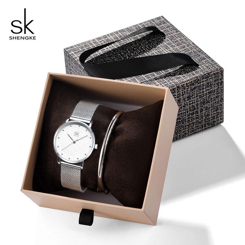 Shengke Women Luxury Quartz Watch with Crystal Star Bangle Gold Bracelet Watches Set 2019 New SK Birthday Gift For Women