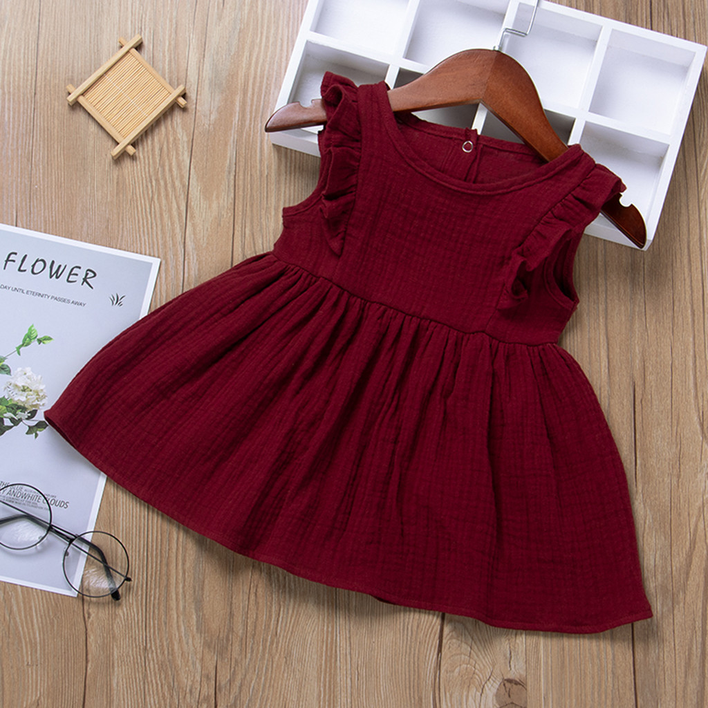 Kids Dresses Girls 2020 New Fashion Toddler Baby Girls solid o neck dress Ruffle Fly Sleeve Solid Print Princess Dress#P30