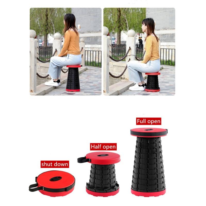 Telescopic Stool Adjustable Folding Camping Stool Fishing Folding Chair Portable Luban Lock Stool Bearing 300KG Retractable