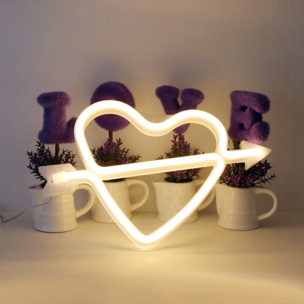 LED Cupid's Bow Sign Shaped Decor Light Heart Night Lamps Love Marquee Letter Sign Gifts for Christmas Birthday Party Kids Room image