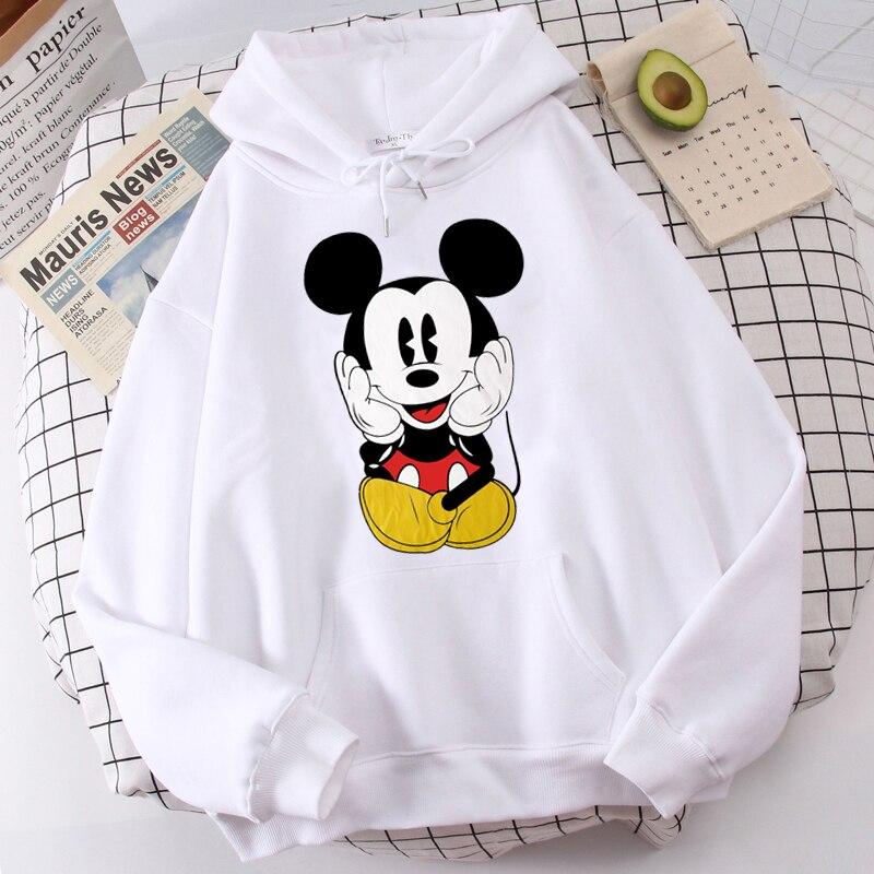 Disney Women Hoodies Minnie Mickey Mouse Hoodies Cartoon Tops Long Sleeve Pockets Sweatshirts Fashion Hooded Women 11