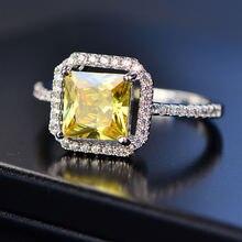 925 стерлингового серебра 7 мм цитрин горный кольца для женщин